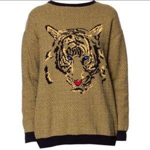 Zara Knit RARE tiger striped houndstooth sweater L